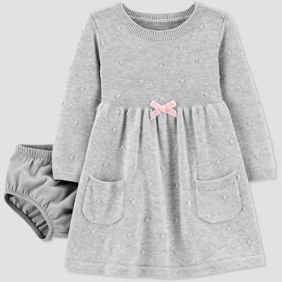 Baby Girls' Sweater Dress - Just One You® made by carter's Gray 3M