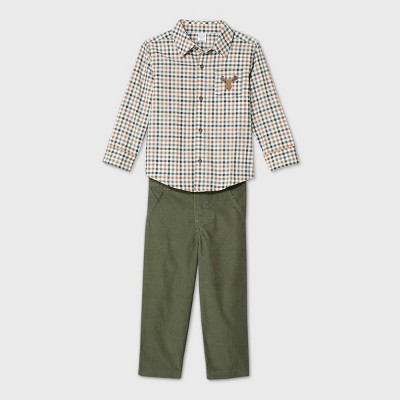 Toddler Boys' 2pc Moose Plaid Top and Bottom Set - Just One You® made by carter's Green