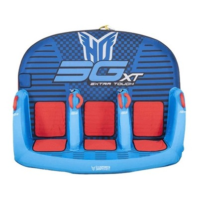 HO Sports 2020 3G XT Inflatable Seated Towable Watersports Pull Behind Boating Tube, 1 to 3 Person Capacity