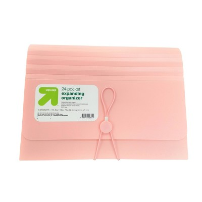 24 Pocket Expanding File Folder Organizer Letter Size Blush - up & up™
