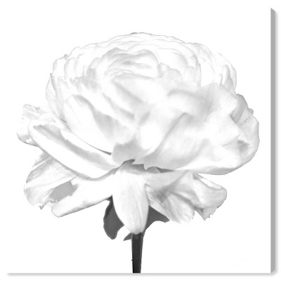 """12"""" x 12"""" Blooming Flower Blanc Floral and Botanical Unframed Canvas Wall Art in White - Oliver Gal"""