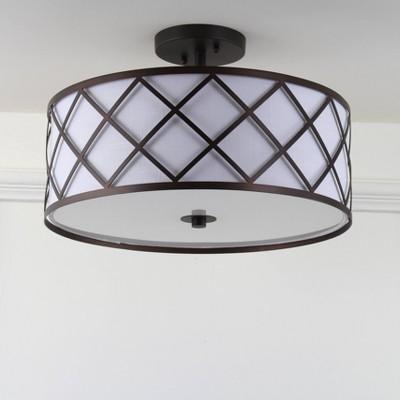 "16.75"" Metal Elizabeth Flush Mount Ceiling Light (Includes Energy Efficient Light Bulb)Black - JONATHAN Y"