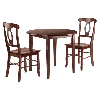 3pc Clayton Drop Leaf Dining Sets with 2 Keyhole Back Chairs Walnut - Winsome