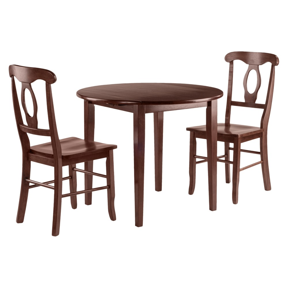 Clayton 3pc Set Drop Leaf Table with 2 Keyhole Back Chairs - Walnut (Brown) - Winsome