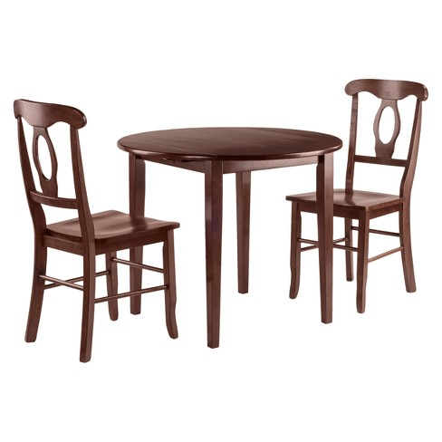 Clayton 3pc Set Drop Leaf Table with 2 Keyhole Back Chairs - Walnut - Winsome - image 1 of 3