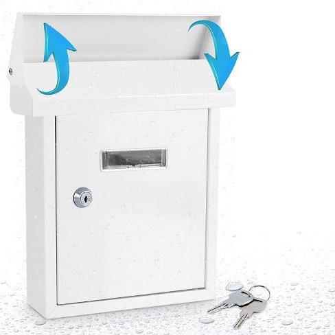 SereneLife SLMAB01 Home Indoor Outdoor Galvanized Steel Metal Wall Mount Locking Mailbox Magazine Newspaper Holder with View Window and Keys, White - image 1 of 4
