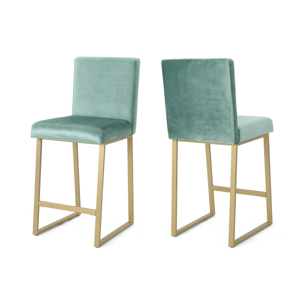 Toucanet Set of 2 Counterstool Turquoise/Brass - Christopher Knight Home