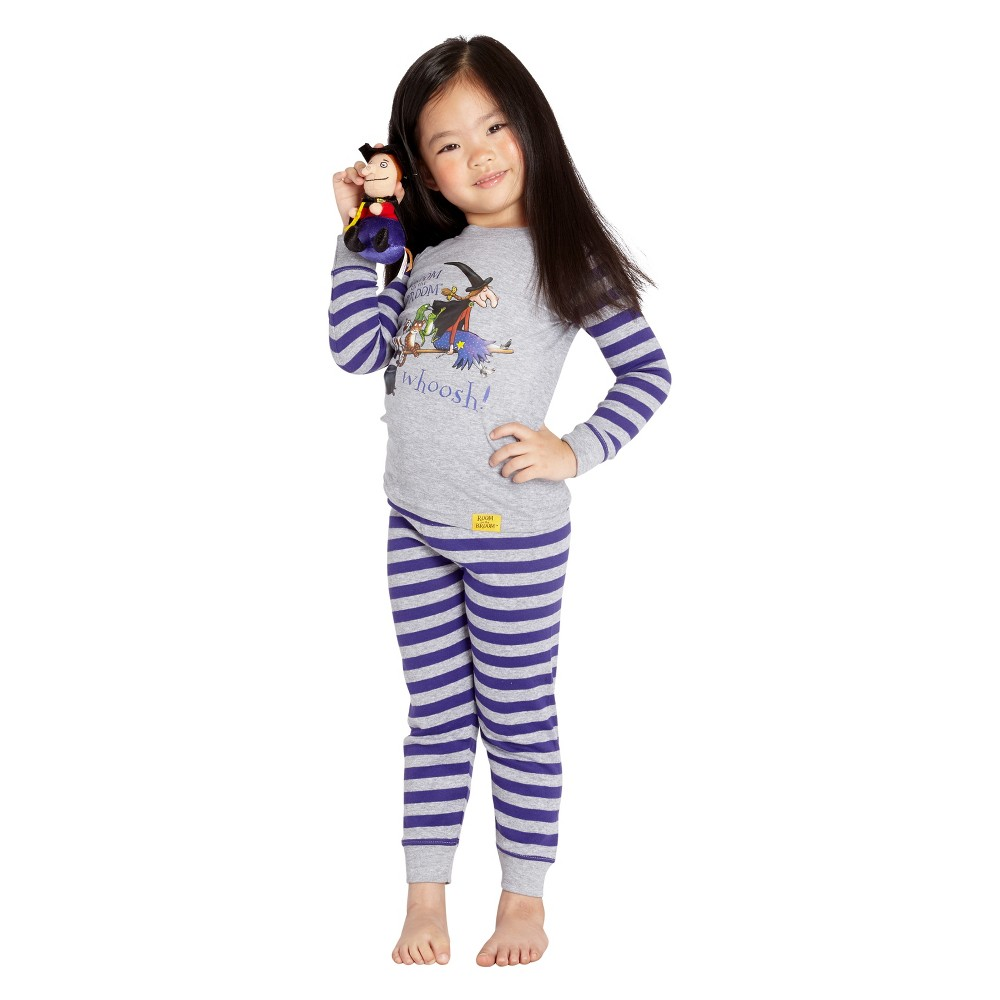 Toddler Girls' Room on the Broom Striped 2pc Tight Fit Long Sleeve Pajama Set - Purple/Gray 2T, Multicolored