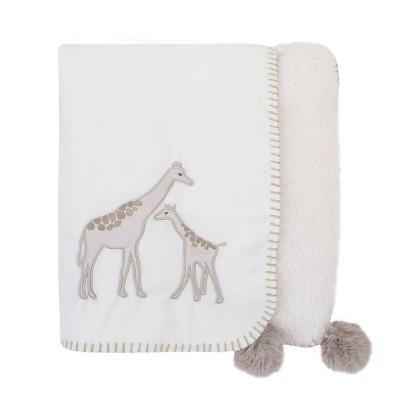 NoJo Serendipity Ivory Giraffe Appliqued Plush Baby Blanket