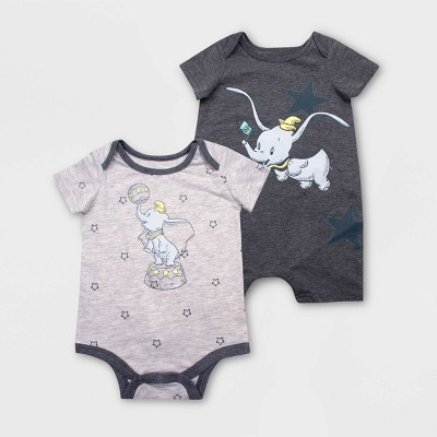 Baby Disney Dumbo 2pk Short Sleeve Rompers - Gray Newborn