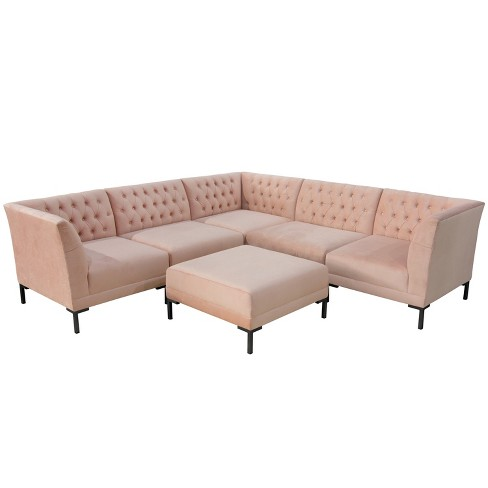 6pc Audrey Diamond Tufted Sectional With Metal Y Legs Cloth Co