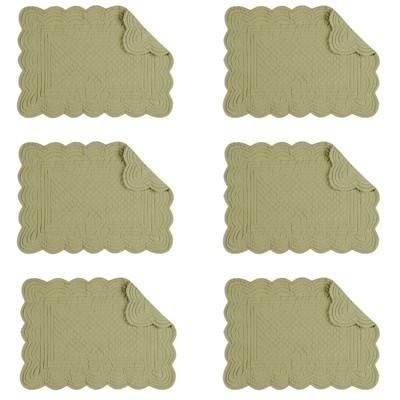 C&F Home Sage Cotton Quilted Rectangular Reversible Placemat Set of 6