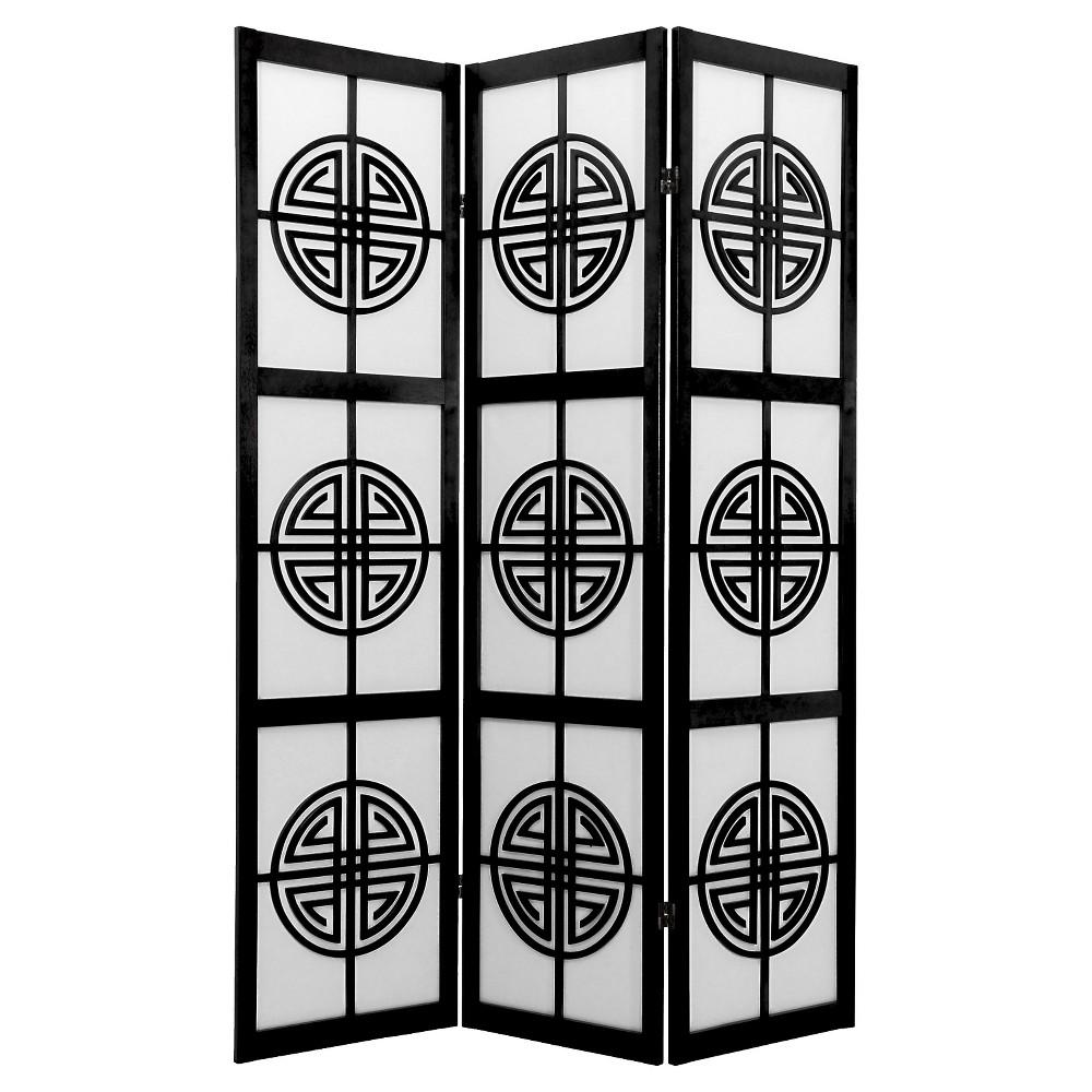 6 ft. Tall Long Life Shoji Screen - Black (3 Panels)