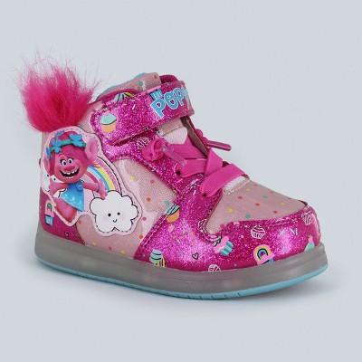 Toddler Girls' Trolls Poppy Light-Up High Top Sneakers - Fuchsia 9