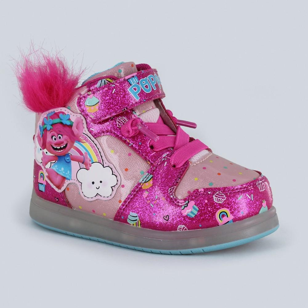 Toddler Girls' Trolls Poppy Light-Up High Top Sneakers - Fuchsia 12, Pink