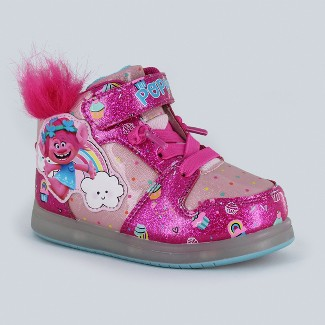 Toddler Girls' Trolls Poppy Light-Up High Top Sneakers - Fuchsia 10