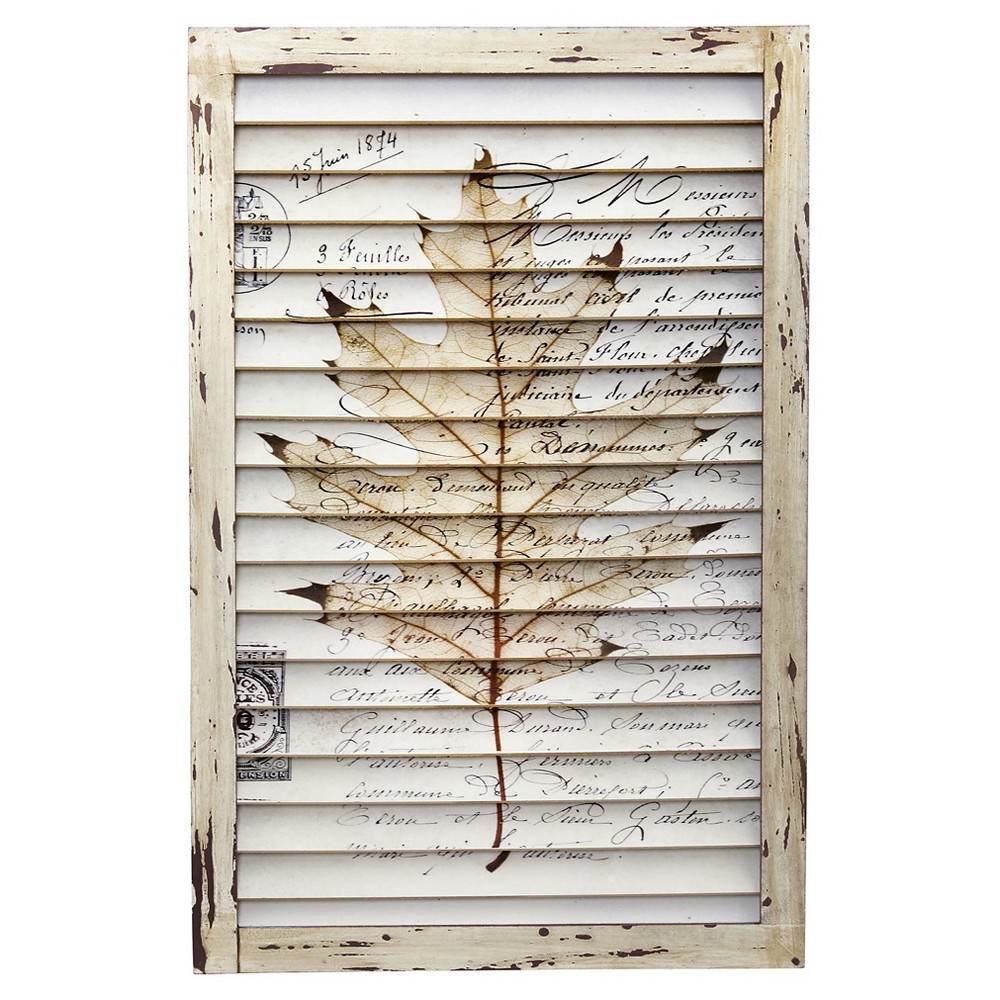 Maple Leaf Window Shutter Wall Décor - Nearly Natural, Ivory