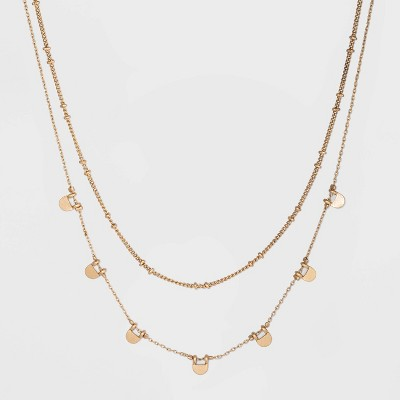 Paddle and Chain Layer Necklace - Universal Thread™ Gold