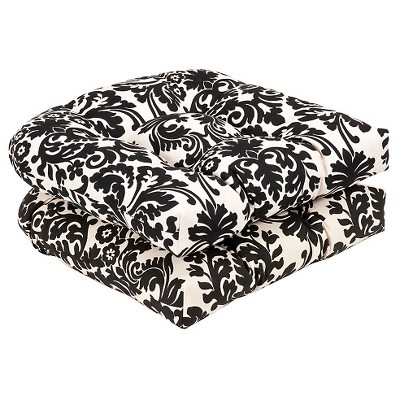 Outdoor 2-Piece Chair Cushion Set - Black/White Floral