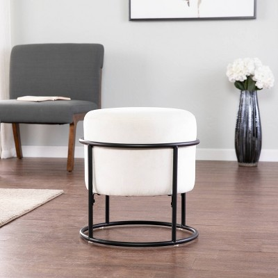 Uplynn Round Upholstered Ottoman Gray/Black - Holly & Martin