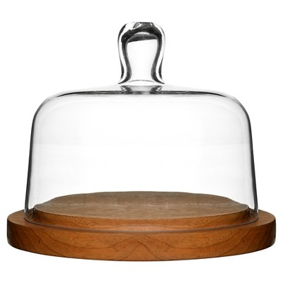 Sagaform® Oval Oak Round Cheese Dome with Glass Lid