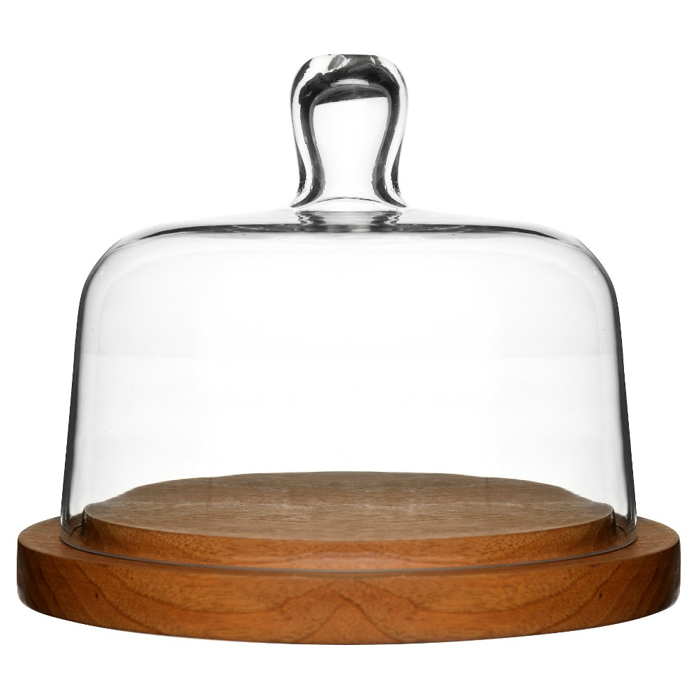 Sagaform Oval Oak Round Cheese Dome with Glass Lid, Clear