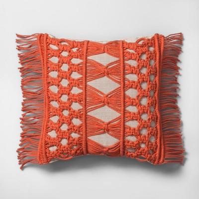 Camellia Macrame Mini Throw Pillow Beige - Opalhouse™