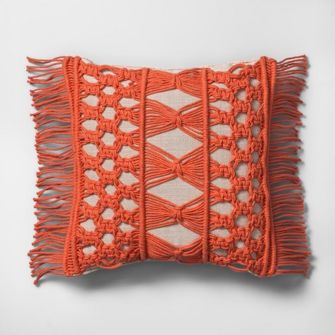 Camellia Macrame Mini Throw Pillow Beige - Opalhouse™ - image 1 of 5