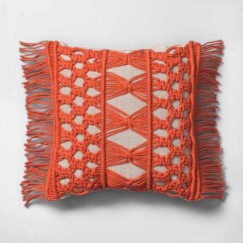 Camellia Macrame Mini Throw Pillow Beige - Opalhouse™ - image 1 of 4