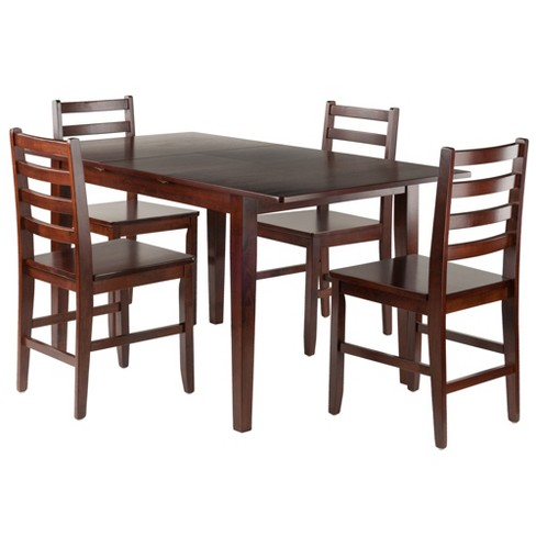 5pc Anna Dining Table Set With Ladder Back Chairs Walnut Winsome