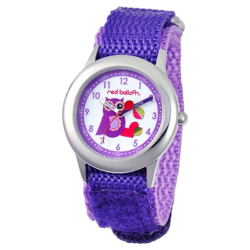 Girls' Red Balloon Love Owl Stainless Steel Time Teacher Watch - Purple - image 1 of 2