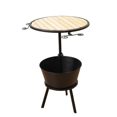 Gerson International 35.75-Inch High Metal and Wood Outdoor Wine Table with Ice Bucket