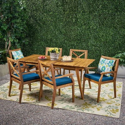 Mesa 7pc Acacia Wood Patio Dining Set - Christopher Knight Home