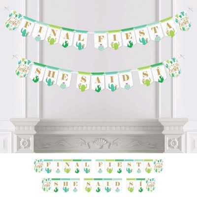Big Dot of Happiness Final Fiesta - Last Fiesta Bachelorette Party Bunting Banner - Party Decorations - Final Fiesta She Said Si