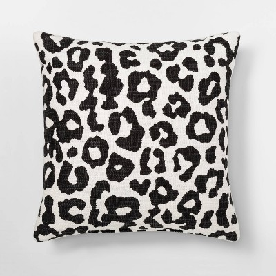 Leopard Print Throw Square Pillow Black/Cream - Threshold™