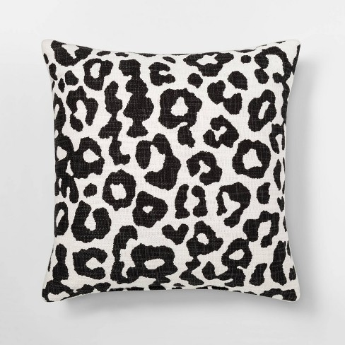 Leopard Print Throw Square Pillow Black/Cream - Threshold™ - image 1 of 3