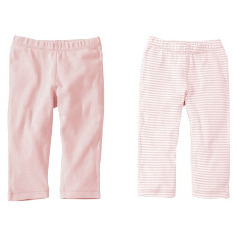 Burts Bees Baby™ Newborn Girls' 2 Pack Solid/Stripe Pants - Blossom 0-3 M - image 1 of 1