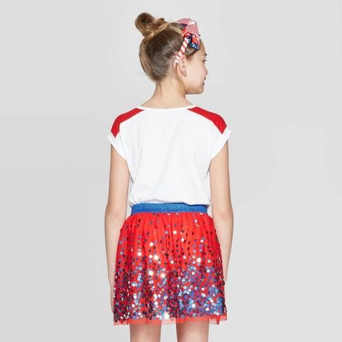 56da3b538 Girls  Short Sleeve Flip Sequin Americana Heart T-Shirt - Cat   Jack™ White    Target