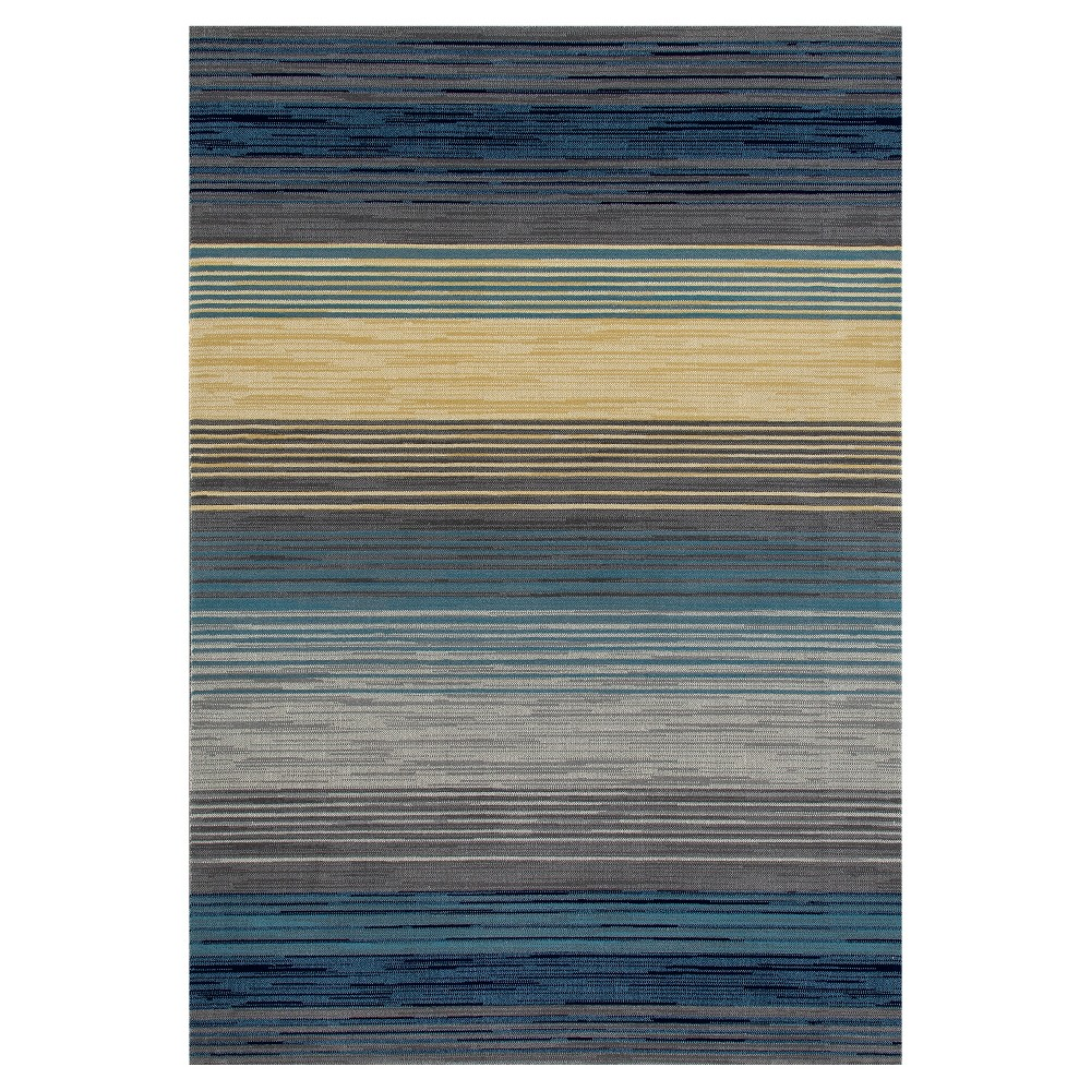 Image of Blue Stripe Woven Area Rug - (8'X11') - Art Carpet