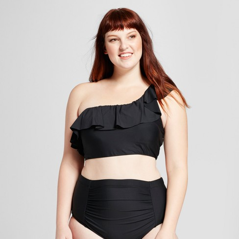 27ceb1c0804f6 Sea Angel Women's Plus Size Ruffle One Shoulder Bikini Top - Black