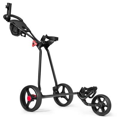 Costway Foldable 3 Wheel Golf Pull Push Cart Trolley Scorecard Drink Holder Mesh Bag