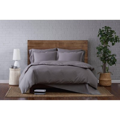 3pc King Classic Cotton Duvet Set Gray - Brooklyn Loom