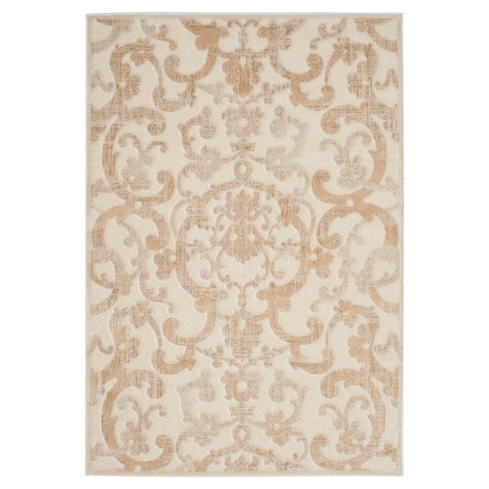 Stone/Cream Abstract Loomed Accent Rug - (4'X5'7) - Safavieh, White