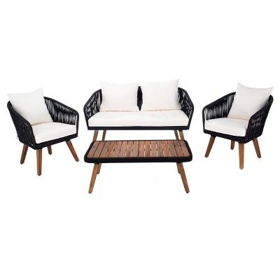 Ransin 4pc Living Set - Black/Beige/Natural - Safavieh