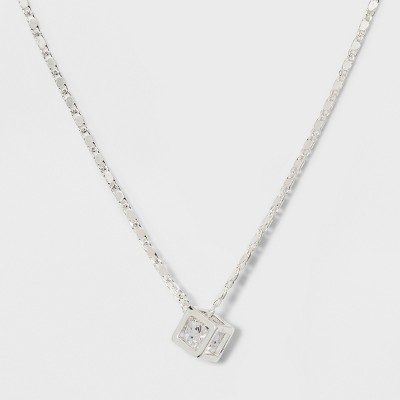 Caged Cubic Zirconia Short Necklace - A New Day™ Silver