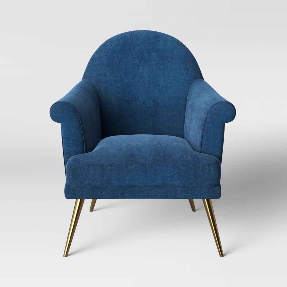 Superb Myna Tufted Arm Chair With Brass Legs Velvet Blue Opalhouse Lamtechconsult Wood Chair Design Ideas Lamtechconsultcom