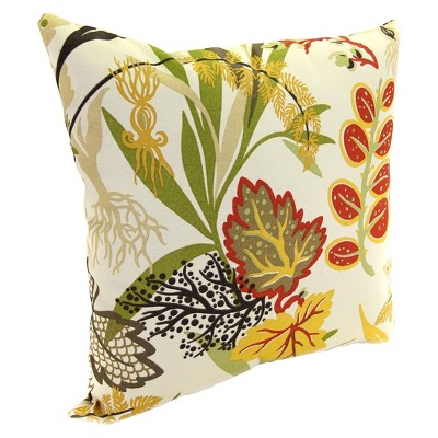 Outdoor Square Toss Pillow - Red/Green Tropical