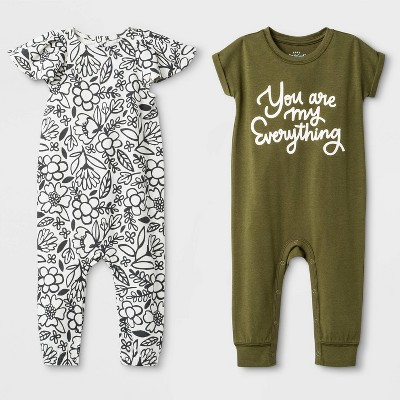 Baby Girls' 2pk Rompers - Cat & Jack™ Olive/White 6-9M