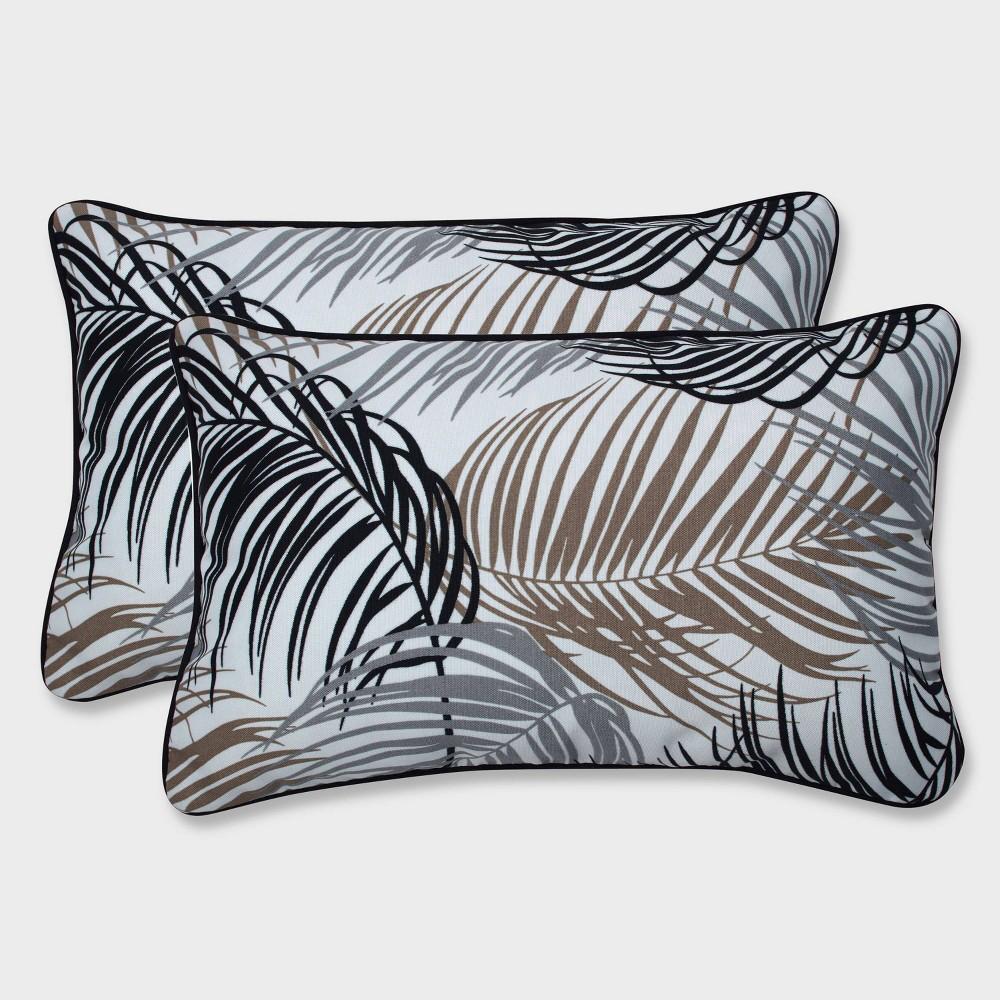 2pk Setra Stone Rectangular Throw Pillows Black - Pillow Perfect