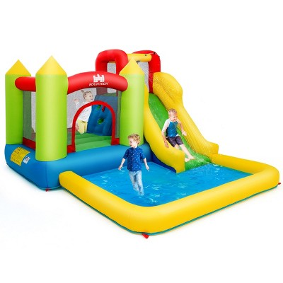 Inflatable Bounce House Water Slide Jump Bouncer w/Climbing Wall and Splash Pool